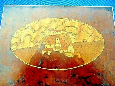 Antique German Burl Wood Box Intricate Inlaid Wood Castle Late 1800'S