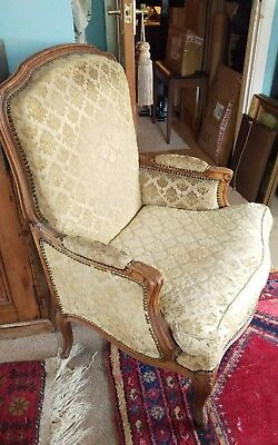 Antique Armchair Louis xv style  French   Gold Damask. Delivery available