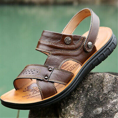 eeced0e81 Summer Mens Leather Sandals Shoes Fisherman Open Toe Sports Beach Nonslip  Flats