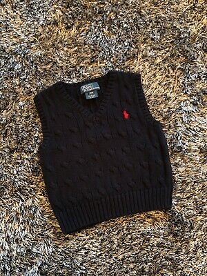 Excellent Condition - Ralph Lauren Vneck Waistcoat Cable Top Jumper - 12 Months