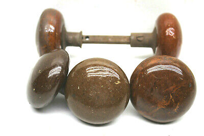 5 Antique Brown Porcelain Ceramic Door Knobs  w/ One Shaft Vintage Door Hardware