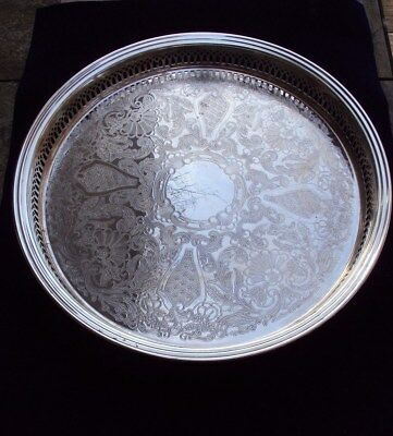 "Large 15"" Round Sheffield Silver Co. Silverplated Gallery Tray - Was Made in USA"