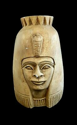 Ancient Head Egyptian Statue Figurine Queen Beautiful Carved Large Faience bc