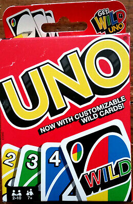 New:  Original UNO Card Game with Customizable Wild Cards! Mattel © 2015