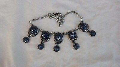 Silver tone modernist brutalist style dark blue glass bead necklace