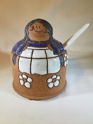 Studio Pottery Sugar Bowl Girl with Braided Pigtails & Apron SIGNED