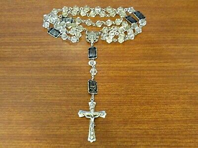 Vintage Rare Creed Sterling Silver ROSARY w/ Joyful Sorrowful Mysteries Medals E