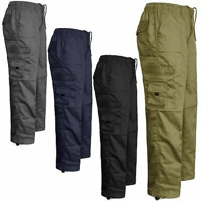 Mens Elasticated Cargo Combat Work Lightweight Trousers Jogging Pants Bottoms