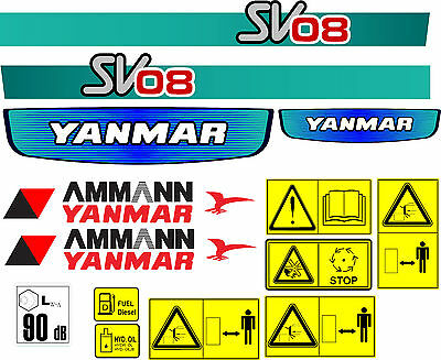 Yanmar Sv08 Mini Digger Decal Set