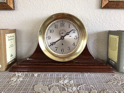 """Chelsea 7"""" Brass 1950 Ship's Clock with Handcrafted Base #581111 Newly Serviced"""