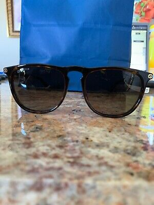 a45a00bf4 Gucci Polarized Round Rectangular Havana Brown Gold Bee Sunglasses Gg0120S  006