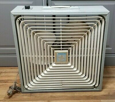 Vintage Penncrest Electric Box Fan With Three Speed Selector Silver