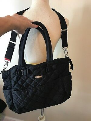 95a7360f2f989 STORKSAK BOBBY QUILTED Navy Nappy Diaper Bag & Baby Changing Mat ...