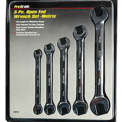 5 Piece Double Open End Metric Wrench Set 8x9 - 16x18 Polished Mirror Finish New