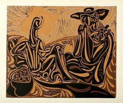 PABLO PICASSO LINOCUT from Bacchanals, Women, Bulls, and Bullfighters,1962.