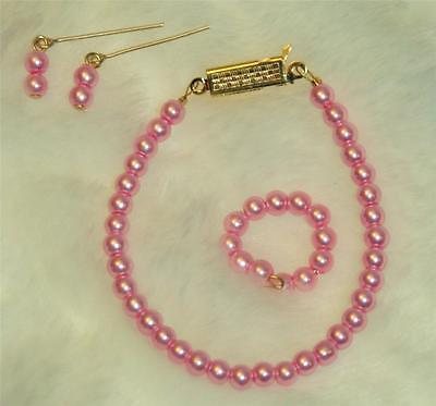 "Pearl Choker Necklace Jewelry Set 14KGF18/""-20/"" Vintage Fashion Doll Miss Revlon"