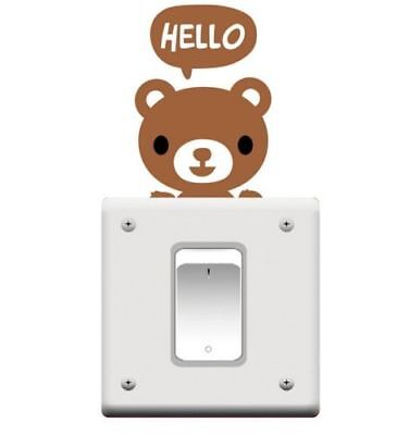Hello Bear Switch Plate Decal-Light/Sticker/Wall/Laptop/Tablet ETC/Brown Vinyl