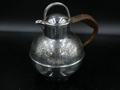 Lovely English Edwardian Style Silver Plate Hot Water Pot With Wicker Handle