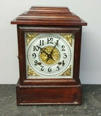 Vintage Mahogany Bracket Clock 8 Day with Strike