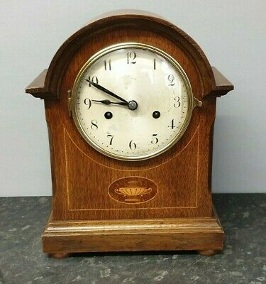 Vintage Dome Top Inlayed 8 Day, Strike, Mantel Clock
