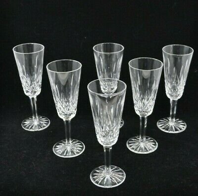 Set of 6 Waterford Crystal Lismore Fluted Champagne Glasses Flutes