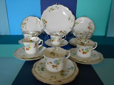 Antique Vintage Tea Set Very Fine China Hand Painted Very Dainty Cups 1880-1900
