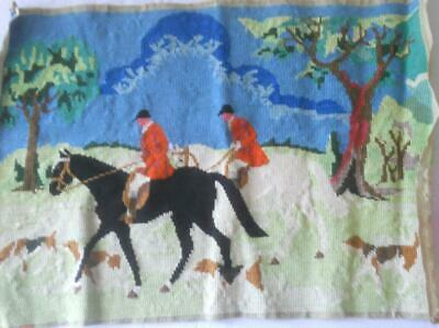 Vintage Completed Tapestry Horse And Hounds Scene Suit Cushion Frame Etc