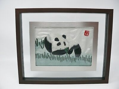 Asian Panda Bear Silk Embroidered Needlework Handcrafted Framed Embroidery Art