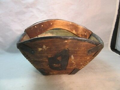 Vintage primitive Chinese rice, grain basket. Wood & metal