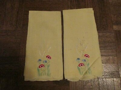 Vtg 2 Linen Hand Towel Yellow Embroidered w Flowers & Wheat, Poppies