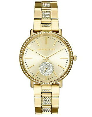 08ac562ebe17 NEW Michael Kors Women s Jaryn Gold-Tone Stainless Steel Pave Watch MK3811   350