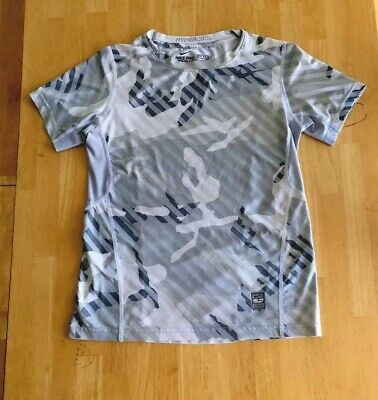 3773085d45d3 Boys  Nike Pro Combat Hypercool Fitted Dri-Fit Shirt Top Gray Camo Youth  Size