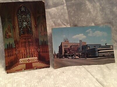 2 post cards Fort Wayne Indiana, 1962. Jefferson Street, Main altar Cathedral