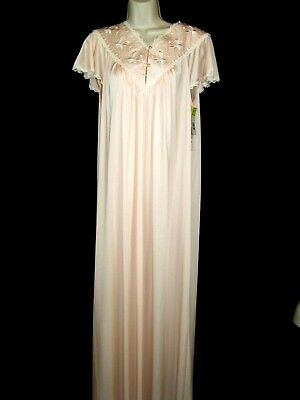 Vintage NWT Satin Silky Shadowline Peach Embroidered Trim  Nightgown Sz Med USA