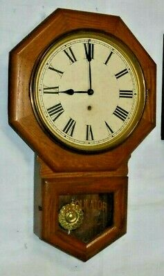 """Antique 8 Day Sessions """"Office"""" Wall Regulator Clock Working Forestville Conn"""