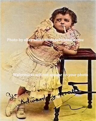 Vintage Early 1900s Image Odd Strange Weird Cigarette Monocle Boy Creepy Photo