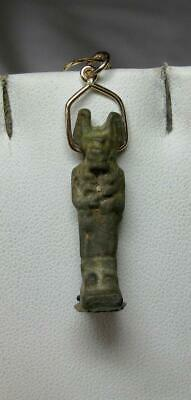 Authentic Ancient Egyptian Anubis Amulet Pendant Faience 14K Gold 500 BC