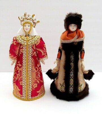 Vintage Folk Art Traditional Russian Porcelain/Cloth Dolls Hand made Set Of Two