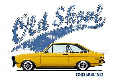 FORD ESCORT MEXICO MK2 t-shirt. OLD SKOOL. CLASSIC CAR. MODIFIED. RETRO.