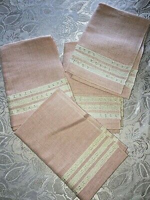 Lovely Vintage Dusty Pink Linen Place Mats LOT of 4 Spanish Medallion Unused