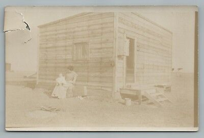 """Home Sweet Home"" Wooden Frontier House RPPC Antique Great Plains Photo 1910s"