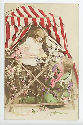 Beautiful Hand-Colored RPPC -- Cute Kids in Flag Tent -- Photo ca. 1908