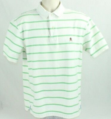32bf636cc Tommy Hilfiger Mens Short Sleeve Polo Shirt White with Green Stripes Size L