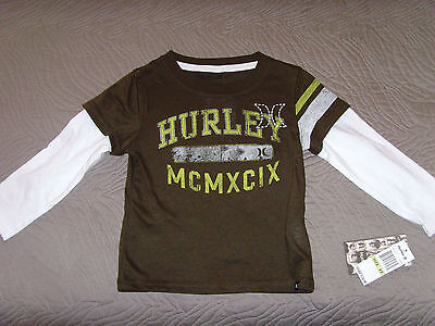 NEW HURLEY Kids Long Sleeve Layered Brown/White T-Shirt Boys Size 4