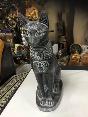 Vintage Large Heavy Egyptian  Cat Statue Hand Carved Made in Egypt