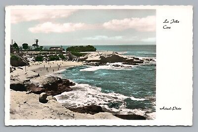 La Jolla Cove—Seal Beach RPPC Vintage Hand-Colored Photo San Diego 1960s