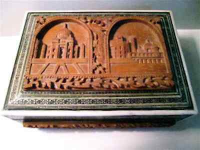 1860-70 Antique Middle East Hand Carved Wood Sadeli Mosaic, Bone Inlay Box/w Key
