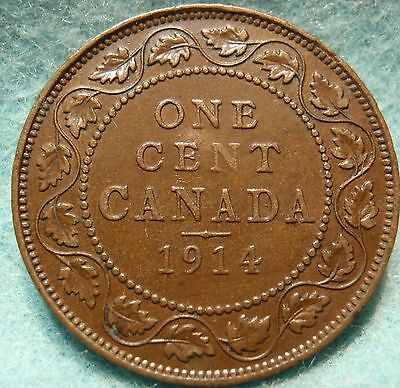 1914 XF-AU CANADA LARGE CENT George V COIN NoRes CANADIAN <-.