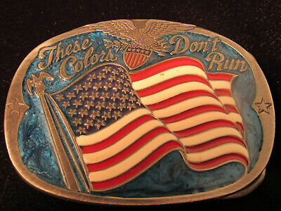 """Vintage Buckle Bakery """"These Colors Do Not Run"""" American Flag Belt Buckle #1652"""