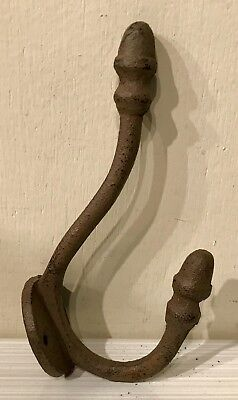 "Cast Iron Double Acorn Wall Hook Hanger 5"" T  Rustic Antique Style Barn Hardware"